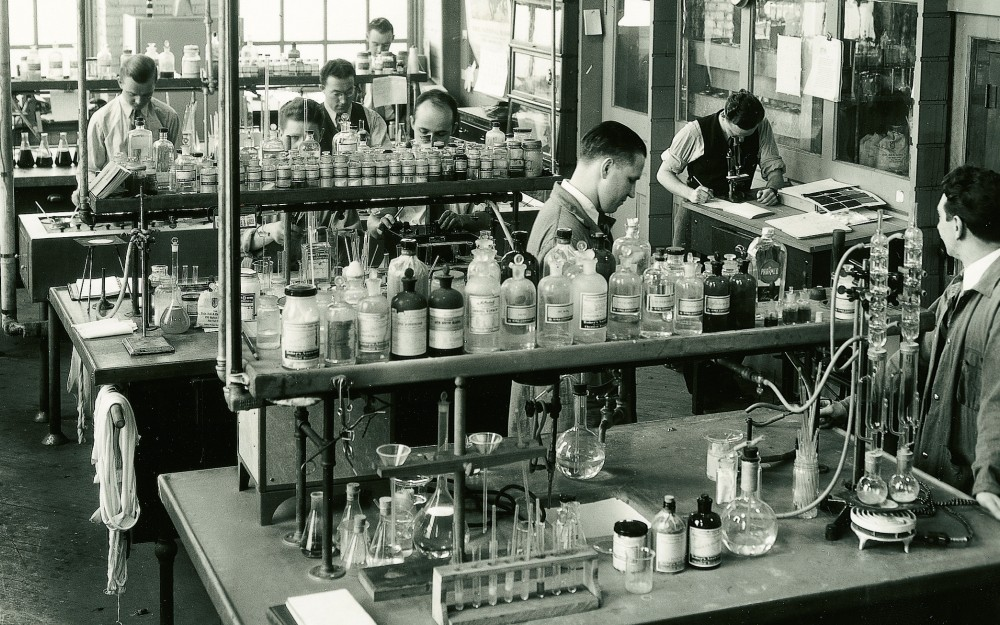 Early photograph of the pharmaceutical department at Sandoz